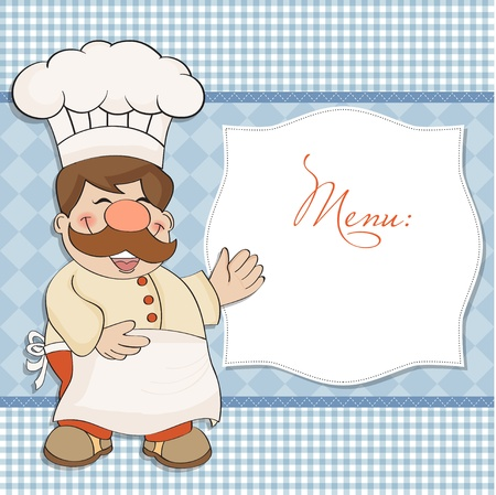 Background with Smiling Chef and Menu  Vector