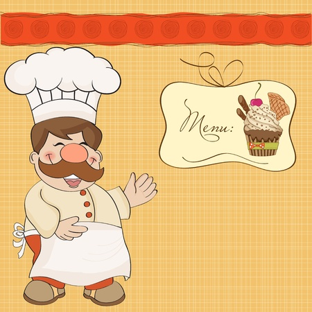 Background with Smiling Chef and Menu Stock Vector - 12786687