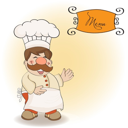 Background with Smiling Chef and Menu Stock Vector - 12786847