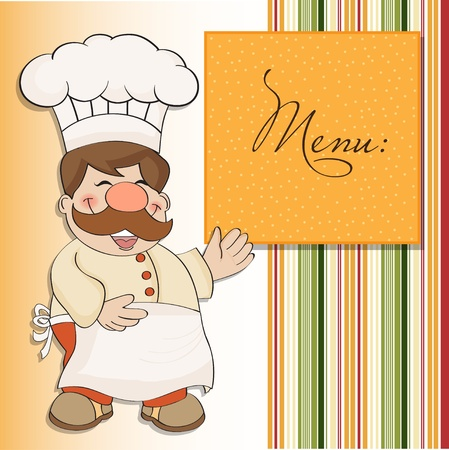 whites: Background with Smiling Chef and Menu