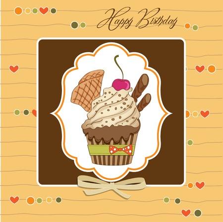 happy people eating: Birthday cupcake