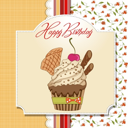 Birthday cupcake  Stock Vector - 12786744