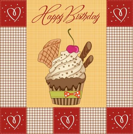 Birthday cupcake Stock Vector - 12786757