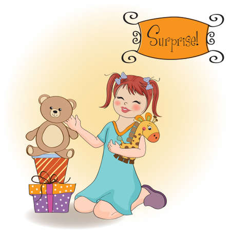 little girl playing with her birthday gifts   happy birthday card  Vector