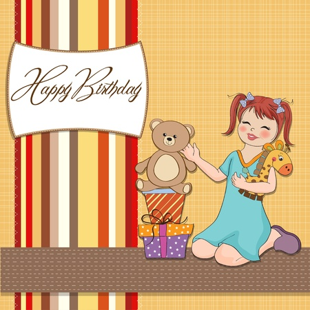 baby romantic: little girl playing with her birthday gifts   happy birthday card  Illustration