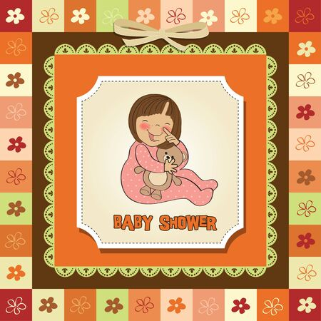 little baby girl play with her teddy bear toy Stock Vector - 12786437