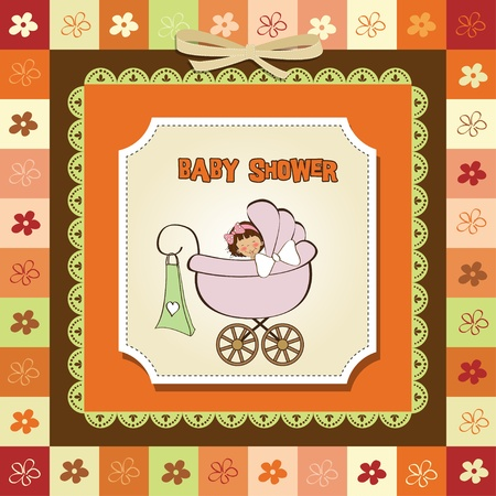 sweet background: baby girl announcement card