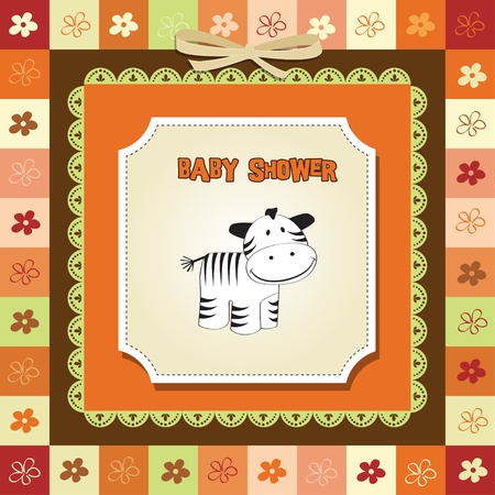 baby shower card with zebra Stock Vector - 12786347