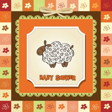 cute baby shower card with sheep Stock Vector - 12786350