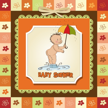 baby showing his butt  baby shower card Stock Vector - 12786443