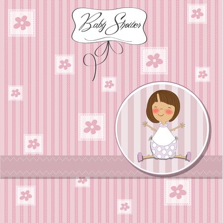 specifically: new baby girl announcement card
