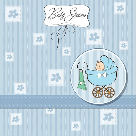 baby boy announcement card with baby and pram Stock Vector - 12786452