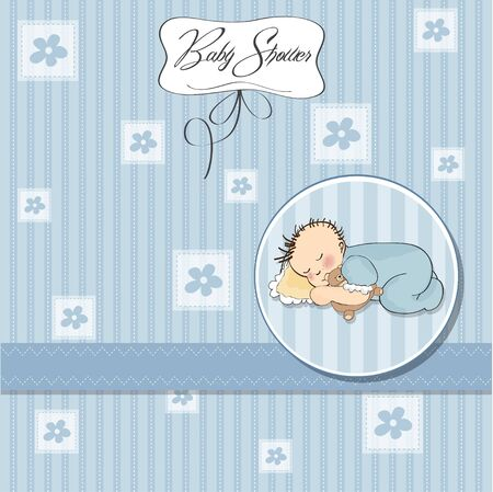 baby shower card with little baby boy sleep with his teddy bear toy Stock Vector - 12786496