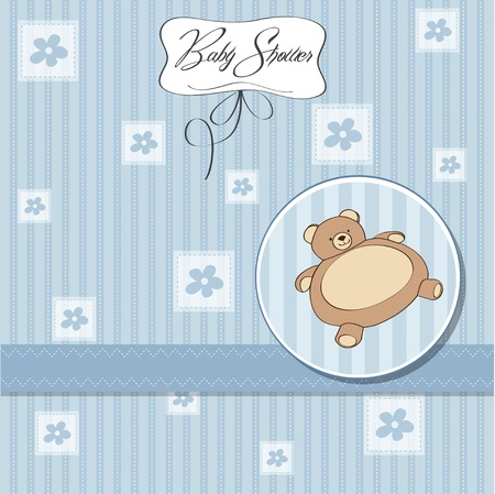 baby shower card with teddy bear toy Stock Vector - 12786495