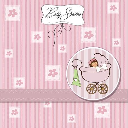 baby girl announcement card Stock Vector - 12786497
