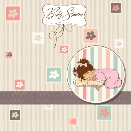 baby shower card with little baby girl play with her teddy bear toy  Vector
