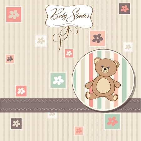 baptism: baby shower card with teddy bear toy