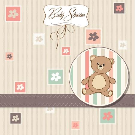 bautismo: Tarjeta de Baby Shower con osito de peluche de juguete
