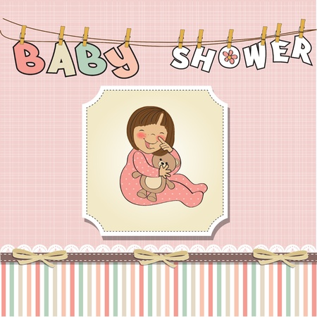 happy birthday girl: little baby girl play with her teddy bear toy  Illustration