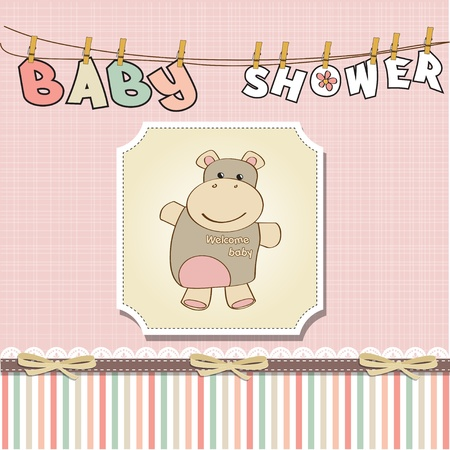 childish baby girl shower card with hippo toy  Vector