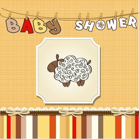 specifically: cute baby shower card with sheep  Illustration