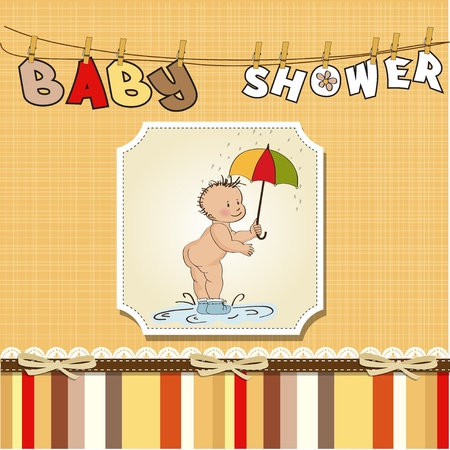 baby showing his butt  baby shower card Stock Vector - 12786694