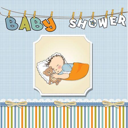 little baby boy sleep with his teddy bear toy  Baby shower card  Vector