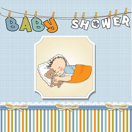 baby sleep: little baby boy sleep with his teddy bear toy  Baby shower card
