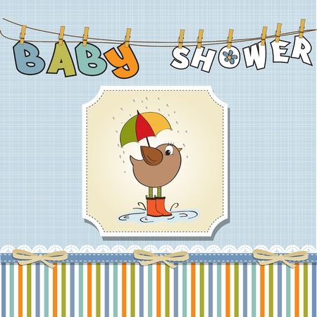 baby boy shower card with little bird stand in the rain  Vector