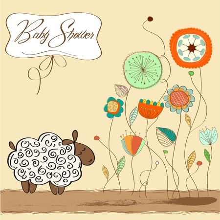baby blue: cute baby shower card with sheep  Illustration