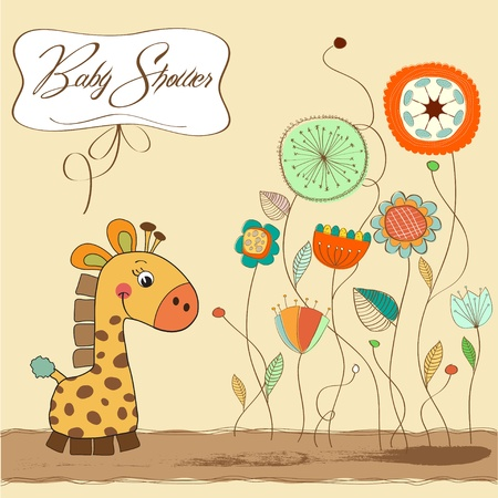 specifically: new baby announcement card with giraffe