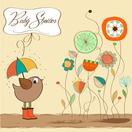 baby shower card with little bird stand in the rain  Vector