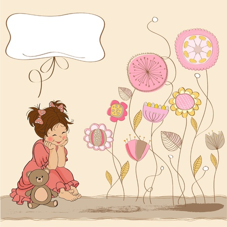 happy moment: little baby girl play with her teddy bear toy  Illustration