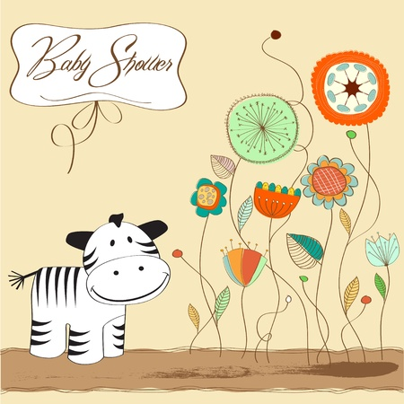 baby shower card with zebra  Illustration