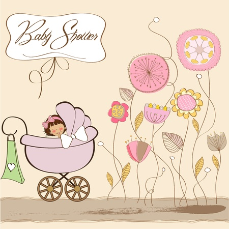 baby romantic: baby girl announcement card