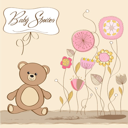 newborn baby girl: baby shower card with teddy bear toy