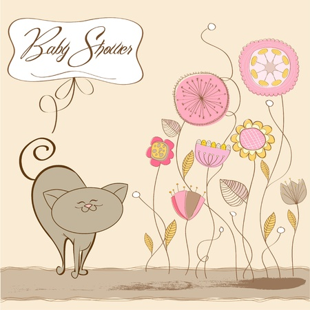 baby girl shower card with cat  Vector