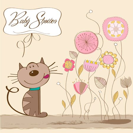 baby girl shower card with cat  Ilustração