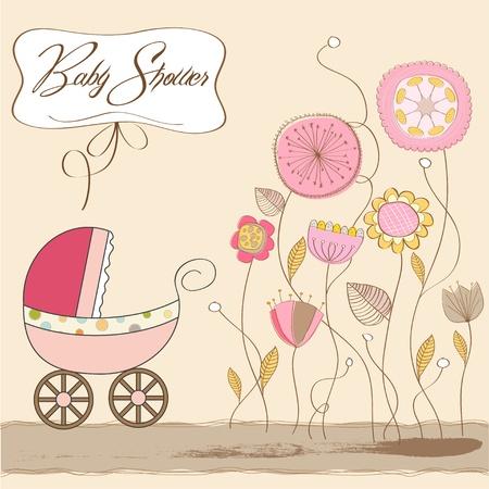 promenade: baby girl announcement card
