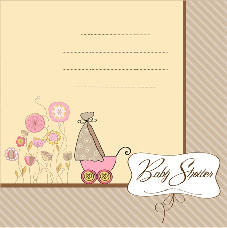 cute baby girls: baby card with pram