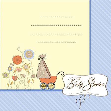 baby romantic: baby card with pram
