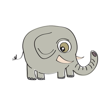 little cute elephant isolated on white background Vector