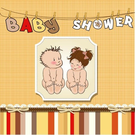 baby twins shower card  Stock Vector - 12810373