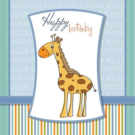 uitnodigen: gelukkige verjaardagskaart met leuke giraf