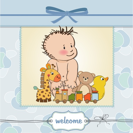 baby boy shower card Stock Vector - 12810287