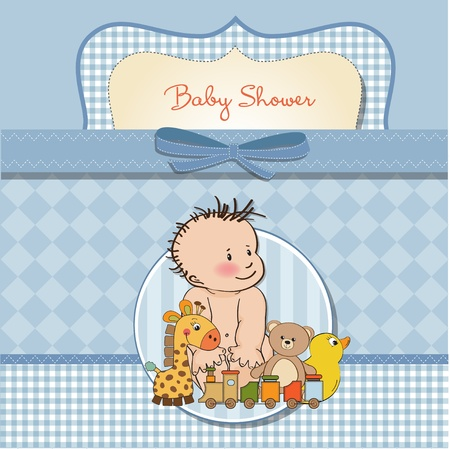 baby boy shower card Stock Vector - 12810352