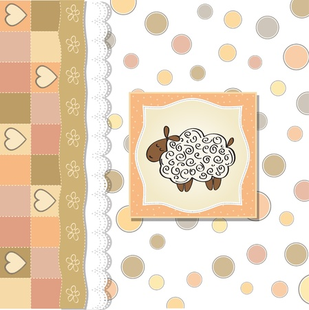 cute baby shower card with sheep  Illustration
