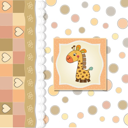 baby announcement card: new baby announcement card with giraffe