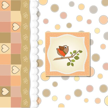 toddler girls: welcome baby card with funny little bird  Illustration