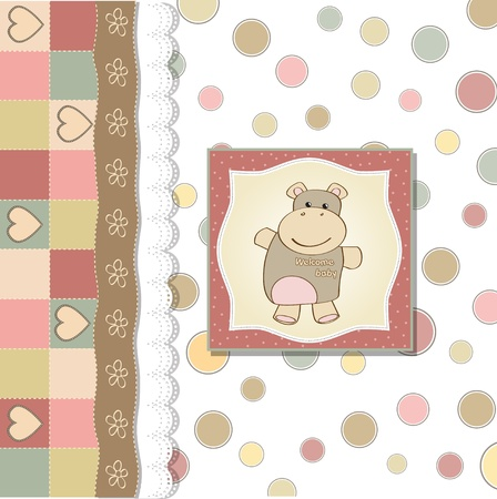 childish baby girl shower card with hippo toy Stock Vector - 12810349
